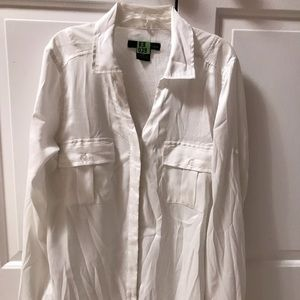 Calvin Klein Tops - White Calvin Klein satin button down blouse Size S